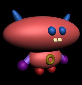 No se si es un diablito o un extraterrestre...lo que si les puedo decir es que es facil de hacer con las figuras básicas de 3DS MAX.