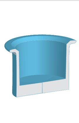 """Con un menor angulo en la ventana de 3D Revolve options podrás ver las """"tripas"""" de tu figura."""