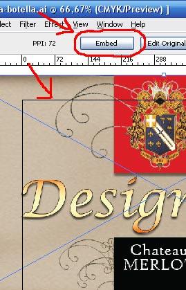Justo aqui para insertar tu imagen en el documento de Illustrator.